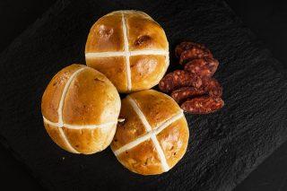 Chorizo hot cross buns made using Crossing Mix