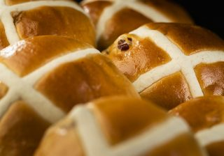 Hot cross bun made using Crossing Mix