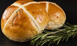 Rosemary hot cross bun made using Crossing Mix