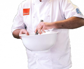 Chef with mixing bowl