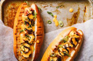Nacho onion hot dog