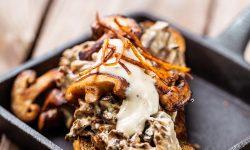 Creamy garlic forest mushrooms with garlic ciabatta