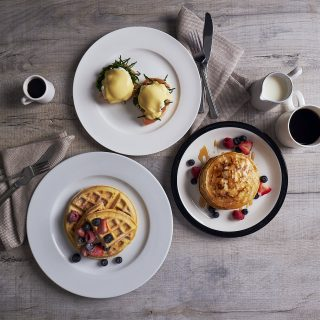 Breakfast with Hollandaise Sauce and Complete Pancake & Waffle Mix