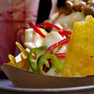 Nachos with Cheddar Cheese Sauce