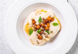 Open butternut, sage and sunflower ravioli